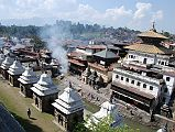 Kathmandu's Pashupatinath temple complex is the holiest Hindu site outside India. Pashupati is one of the many names of Shiva, the most revered god in the Hindu pantheon, this one meaning the Lord of the Animals. Supposedly Shiva needed a holiday from Mount Kailash and chose the Kathmandu valley. Non-Hindus are not allowed to enter the temple. Below the Pashupatinath temple runs the Bagmati River, a holy river that eventually joins the Ganges. Pilgrims throw the holy water onto themselves, while a few hearty Hindus bathe fully.